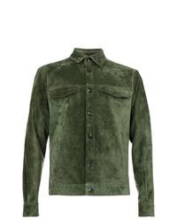 Camicia giacca in pelle scamosciata verde oliva di Ajmone