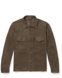 Camicia giacca in pelle scamosciata verde oliva di Kingsman