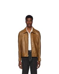 Camicia giacca in pelle terracotta