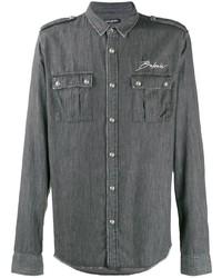 Camicia giacca ricamata grigio scuro di Balmain