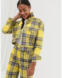 Camicia giacca scozzese gialla di ASOS DESIGN
