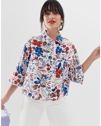 Camicia giacca stampata bianca di Essentiel Antwerp