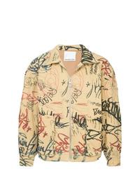 Camicia giacca stampata marrone chiaro di Ground Zero