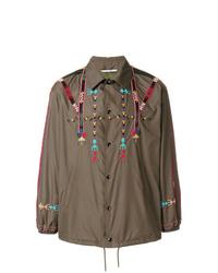 Camicia giacca stampata verde oliva di Valentino