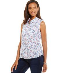 Camicia senza maniche a fiori bianca