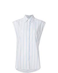 Camicia senza maniche a righe verticali bianca