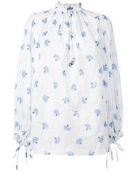 Camisetta a maniche lunghe stampata bianca e blu di Alexander McQueen