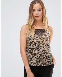 Canotta leopardata marrone chiaro