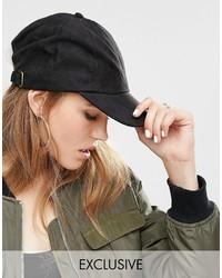 Cappellino con visiera nero di Reclaimed Vintage