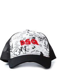 Cappellino con visiera stampato nero e bianco di Dsquared2