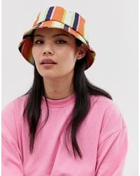 Cappello alla pescatora a righe verticali multicolore di ASOS DESIGN