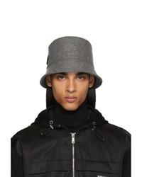 Cappello alla pescatora di lana grigio scuro di Prada