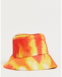 Cappello alla pescatora effetto tie-dye arancione di boohooMAN
