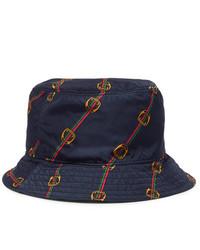 Cappello alla pescatora stampato blu scuro di Gucci