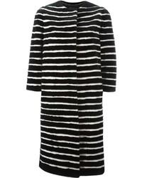 Cappotto a righe orizzontali bianco e nero