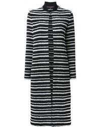Cappotto a righe orizzontali bianco e nero di Martin Grant