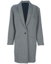 Cappotto a righe verticali nero e bianco di Versace
