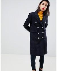 Cappotto a righe verticali nero di Mango