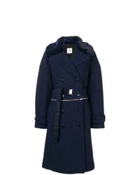 Cappotto con collo di pelliccia blu scuro di Closed