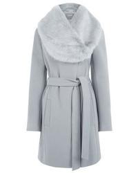 Cappotto con collo di pelliccia grigio