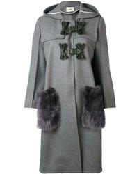 Cappotto con collo di pelliccia grigio di Fendi