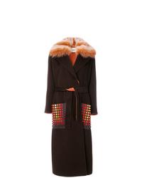 Cappotto con collo di pelliccia marrone scuro di Fendi