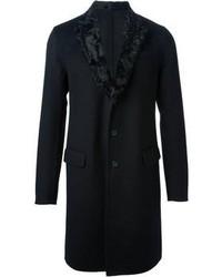 Cappotto con collo di pelliccia nero