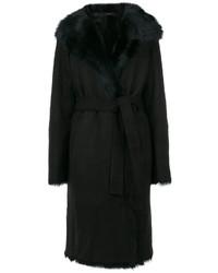 Cappotto con collo di pelliccia nero di Joseph