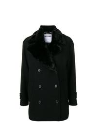 Cappotto con collo di pelliccia nero di Moschino