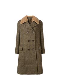 Cappotto con collo di pelliccia verde oliva di Aspesi