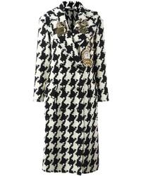 Cappotto con motivo pied de poule bianco e nero di Dolce & Gabbana