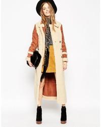 Cappotto di shearling marrone chiaro di Asos
