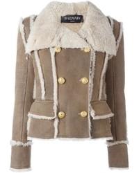 Cappotto di shearling marrone chiaro di Balmain