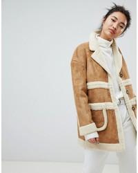 Cappotto di shearling marrone chiaro di NEON ROSE