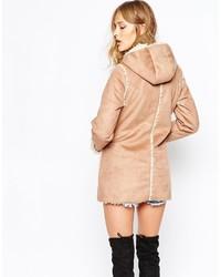 Cappotto di shearling marrone chiaro
