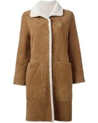 Cappotto di shearling marrone chiaro di Yves Salomon