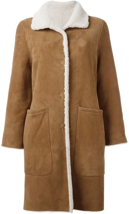 Cappotto di shearling marrone chiaro di Yves Salomon