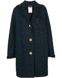 Cappotto di tweed blu scuro di Talbot Runhof