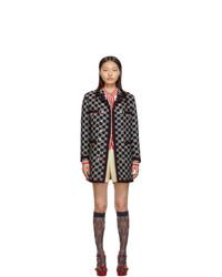 Cappotto di tweed ricamato blu scuro di Gucci