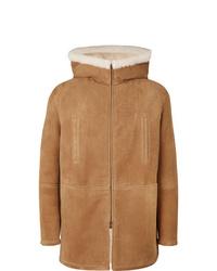 Cappotto in shearling marrone chiaro