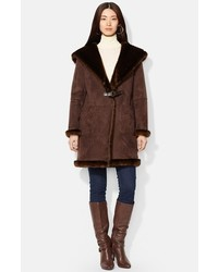 Cappotto in shearling marrone