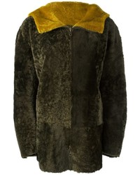 Cappotto in shearling verde oliva