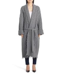 Cappotto lavorato a maglia grigio