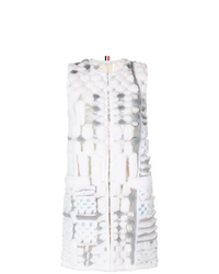 Cappotto senza maniche di pelliccia grigio di Thom Browne