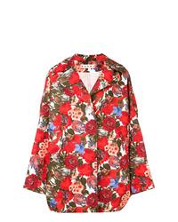 Cappotto stampato rosso di Marni