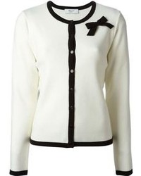 Cardigan aperto lavorato a maglia bianco e nero