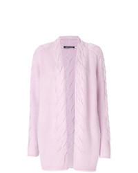 Cardigan aperto lavorato a maglia rosa