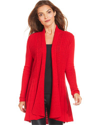 Cardigan aperto lavorato a maglia rosso