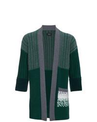 Cardigan aperto lavorato a maglia verde scuro di Curieux