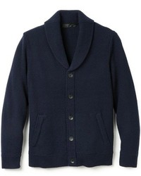 Cardigan con collo a scialle blu scuro